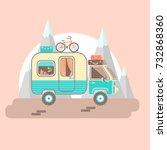 mobile recreation. house on...   Shutterstock .eps vector #732868360