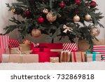 various gifts under beautiful... | Shutterstock . vector #732869818