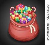 santa gifts bag new year... | Shutterstock .eps vector #732873100