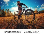 young athletic guy in a black t ... | Shutterstock . vector #732873214