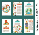set of camping cards. travel... | Shutterstock .eps vector #732876103