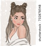 hand drawn beautiful cute young ... | Shutterstock .eps vector #732878548