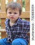 small cute caucasian toddler... | Shutterstock . vector #732883054