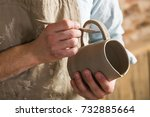 pottery  workshop  ceramics art ... | Shutterstock . vector #732885664