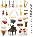 musical instruments set icons... | Shutterstock . vector #732886648