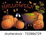 halloween pumpkins  jack o... | Shutterstock .eps vector #732886729