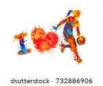 i love basketball. watercolor...   Shutterstock .eps vector #732886906