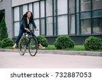 young happy businesswoman... | Shutterstock . vector #732887053