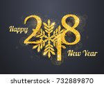 2018 happy new year greeting... | Shutterstock .eps vector #732889870