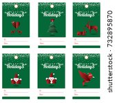 happy holidays gift tags with... | Shutterstock .eps vector #732895870