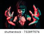 scary cyber skeleton woman... | Shutterstock . vector #732897076