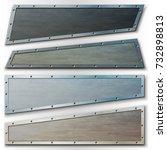 set of horizontal metal banners ... | Shutterstock .eps vector #732898813