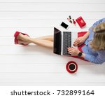 fashion blogger writing on... | Shutterstock . vector #732899164