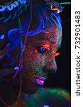 Neon Portrait Of A Girl. Bright ...