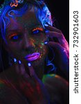 neon portrait of a girl. bright ... | Shutterstock . vector #732901603