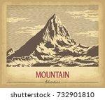 hand drawn mountain peaks on... | Shutterstock .eps vector #732901810