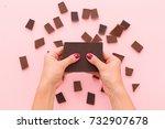 top view on woman's hands... | Shutterstock . vector #732907678