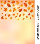 autumn background with leaves.... | Shutterstock .eps vector #732909004