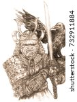 samurai in armor with a sword... | Shutterstock . vector #732911884