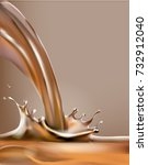 liquid chocolate  caramel or... | Shutterstock .eps vector #732912040