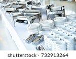 empty catering plates  platters ... | Shutterstock . vector #732913264