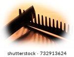 creative set of black hair comb ... | Shutterstock . vector #732913624