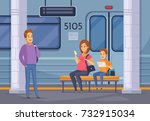 underground subway passengers... | Shutterstock .eps vector #732915034
