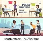 police department and scene of... | Shutterstock .eps vector #732920500