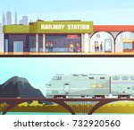 railway station and railway... | Shutterstock .eps vector #732920560