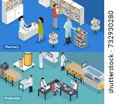 pharmaceutical production 2... | Shutterstock .eps vector #732930280