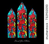stained glass window shape... | Shutterstock .eps vector #732932050