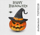 jack o lantern with witch hat... | Shutterstock .eps vector #732932218