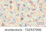 hand printed ethnic botanical... | Shutterstock .eps vector #732937000