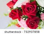 beautiful bouquet of bright... | Shutterstock . vector #732937858