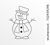 Snowman Outline Icon. Vector...