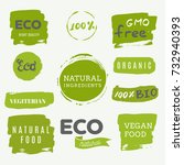 healthy food icons  labels.... | Shutterstock .eps vector #732940393