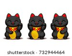 vector cute black maneki neko ... | Shutterstock .eps vector #732944464