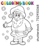 coloring book santa claus... | Shutterstock .eps vector #732950368