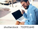 laptop  business man with...   Shutterstock . vector #732951640