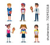 school kids. boys and girls... | Shutterstock . vector #732952318
