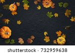 pumpkins and autumn leaves top... | Shutterstock . vector #732959638