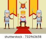 young monarch sits on throne ... | Shutterstock .eps vector #732963658