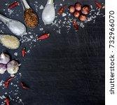 top view of food ingredients... | Shutterstock . vector #732966070