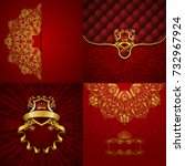 set of luxury ornate... | Shutterstock . vector #732967924