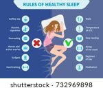 rules of healthy sleep. vector... | Shutterstock .eps vector #732969898