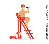male lifeguard sitting on... | Shutterstock .eps vector #732976798