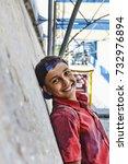 happy smiling dark teenager  in ...   Shutterstock . vector #732976894