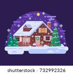 winter house with smoking... | Shutterstock .eps vector #732992326