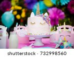 unicorn themed birthday cake in ... | Shutterstock . vector #732998560