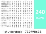 set of 240 quality icons  audio ... | Shutterstock .eps vector #732998638